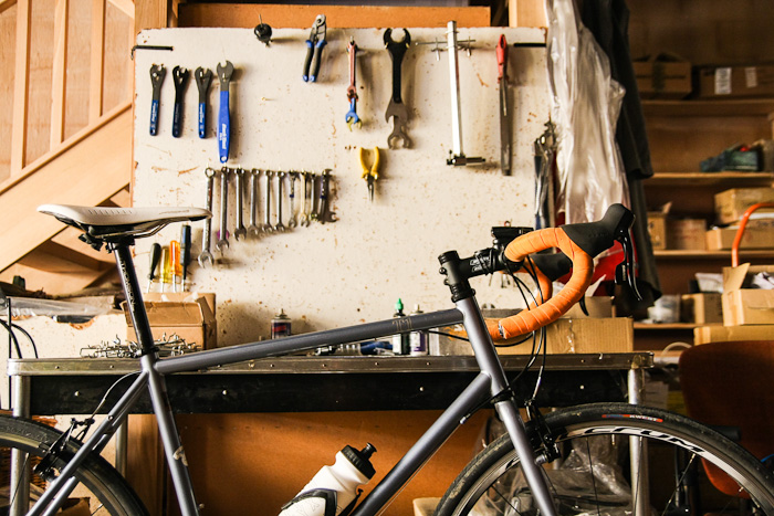 Almost everything in our warehouse is sourced from salvaged materials, including this mechanic's workbench.